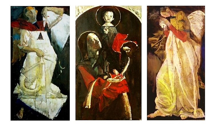 Triptych (Archangel Michael, St. Mary with the Child Jesus, Archangel Gabriel), oil on canvas, 190x110cm, 1998
