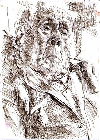 Grandfather, sketch, ink on paper, 22x29cm, 2003