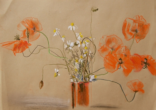 Flowers, pastell on paper, 23x29 cm, 2014