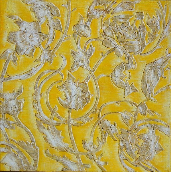 Yellow embroidery, 40x40cm, oil on canvas, 2016