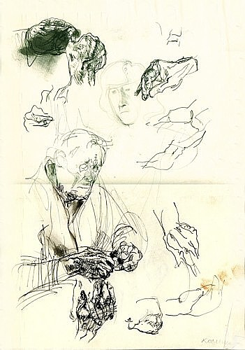 Grandfather, sketch, ink on paper, 29x42cm, 1992
