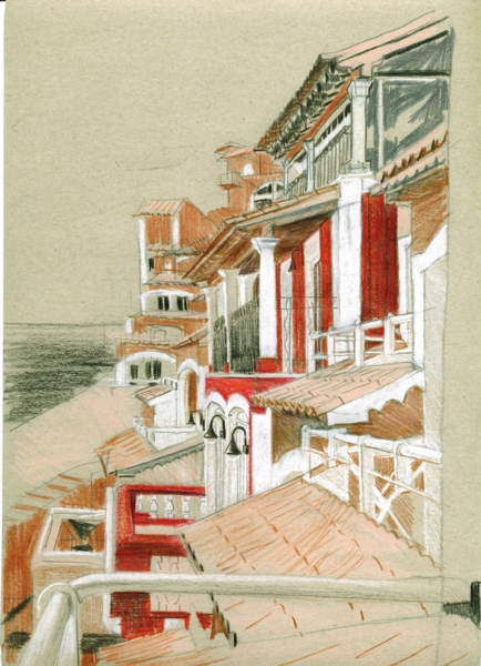 Mallorca, crayon and pencil on paper, 21x29cm, 2011