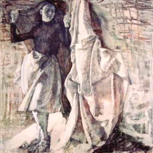 Sorrow, mixed media on paper, 100x100cm, 1998