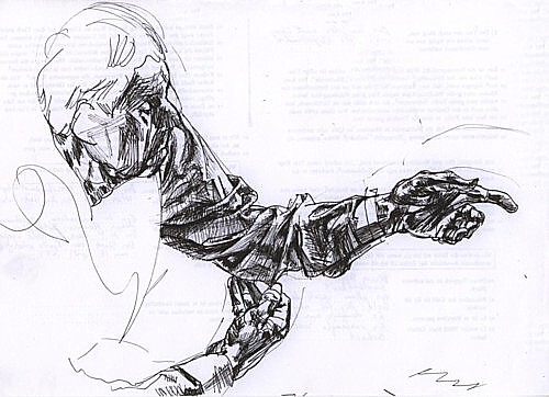 Grandfather, sketch, ink on paper, 21x29, 2002