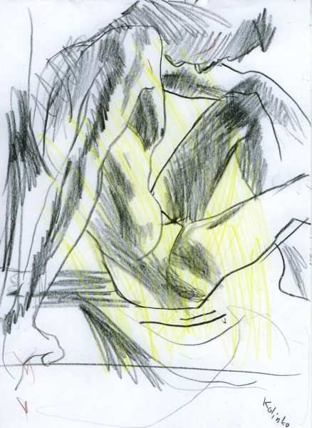 Sketch, pencil and crayon on paper, 21x29 cm, 2002