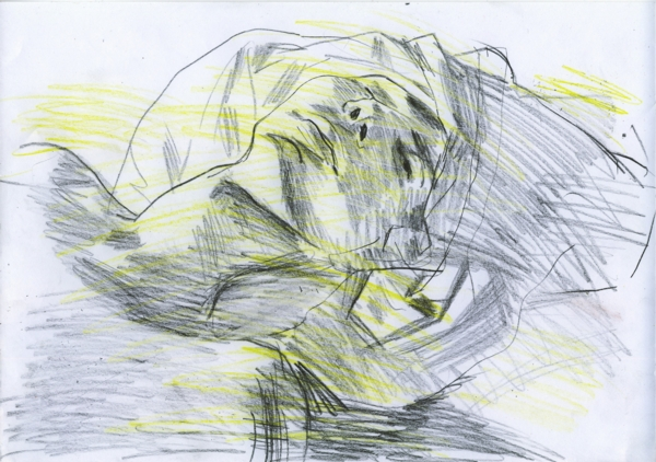 Sketch, pencil and crayon on paper, 29x21cm, 2002