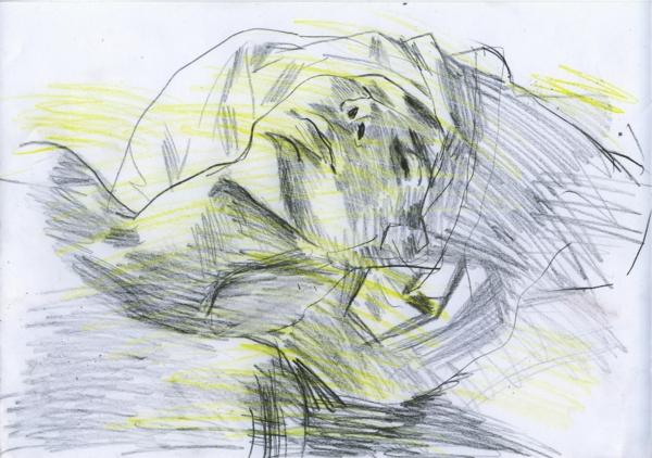Sketch, pencil and crayon on paper, 29x21cm, 2002