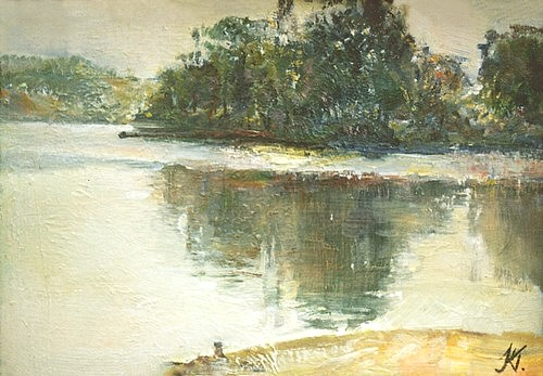 Ukrainian landscape, 30x20cm, oil on hardboard, 1992