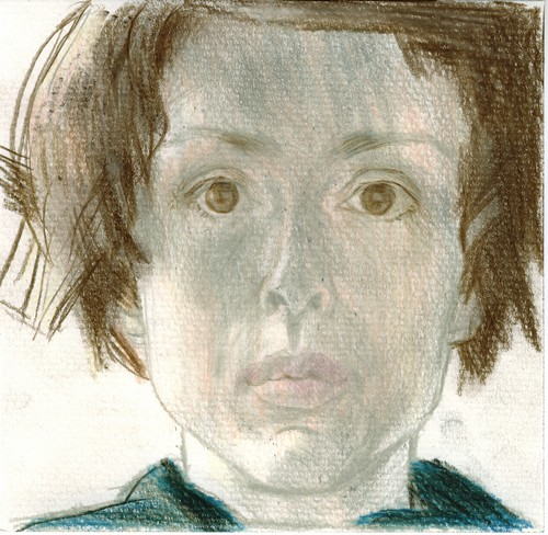 Self-portrait, crayon on paper, 15x15cm, 2007