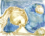 Mother and child, sketch, crayon on paper, 23x27cm, 2004
