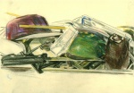 Still life with the dishes, crayon on paper, 24x31cm, 2011